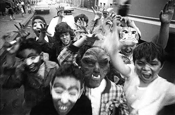 Excited boys on Halloween, 15th Street, Brooklyn, 1974