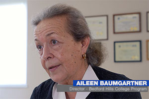 Aileen Baumgartner, director of the Bedford Hills College Program, shown in a still from a 2017 video about the program
