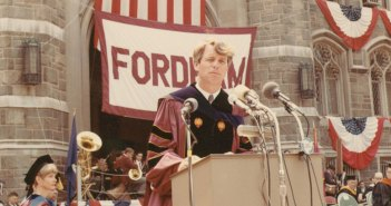 Robert F. Kennedy delivers the commencement address from the terrace of Keating Hall on Fordham University's Rose Hill campus on June 10, 1967