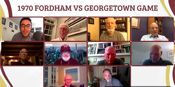 A screenshot of a Zoom discussion with members of the 1970 Fordham football team.
