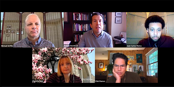 A screenshot from a panel on navigating the pandemic at Fordham.