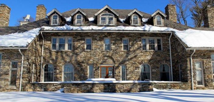Calder Center main house in snow