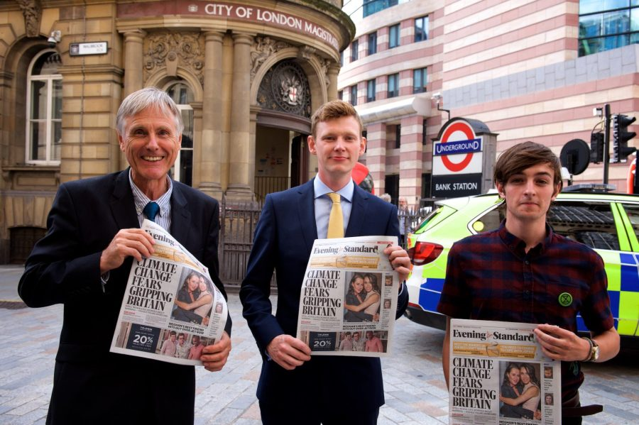 """The three """"Extinction Rebels"""" at the City of London Magistrates Court hearing. Courtesy of Extinction Rebellion"""