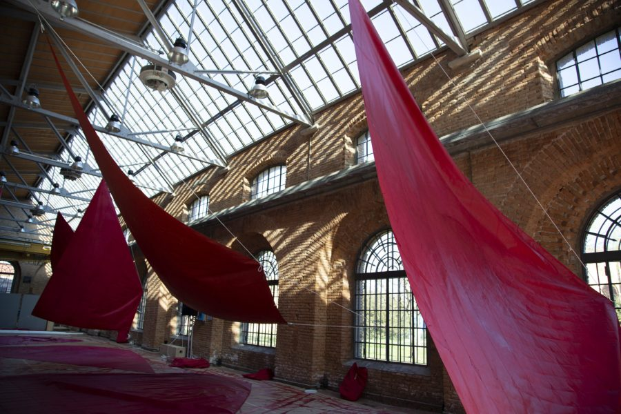 Painted sails hang in the Venetian Arsenal. Courtesy of Melissa McGill