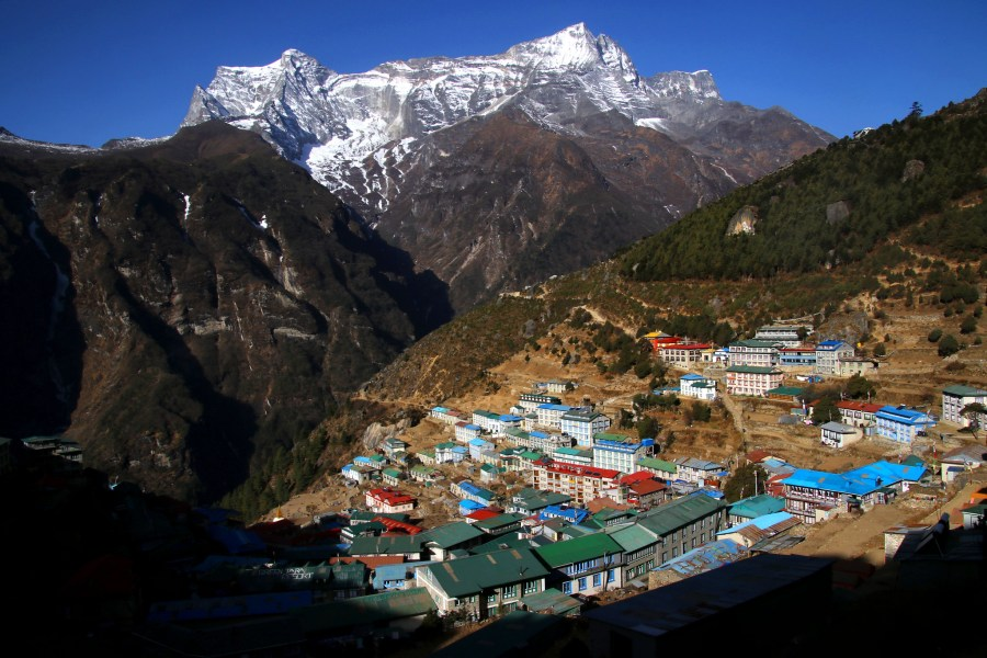 The city of Namche Bazaar, at nearly 3,500 meters above sea level, is a starting point for expeditions to Everest and surrounding peaks.