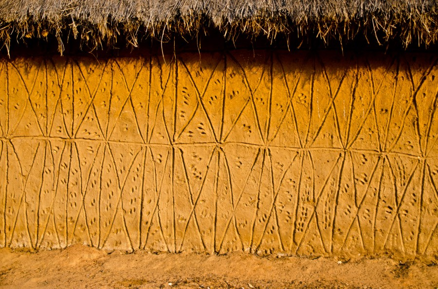 Carvings on a village building near Mole National Park, a protected area of savannah and forest in northern Ghana. Crosby_cj, Flickr