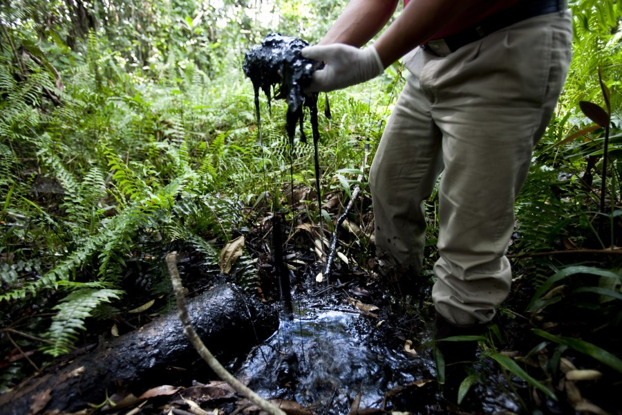 Crude oil in an open toxic oil waste pit abandoned by Chevron in the Ecuadorean Amazon rainforest. Rainforest Action Network