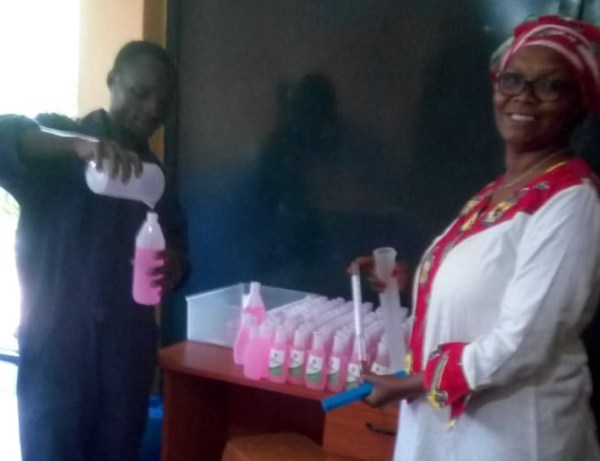 In addition to creating biofuel, Lorna Omuodo (right) recently started producing hand sanitizer and disinfectant from leftover sugarcane. Photo by Lorna Omuodo