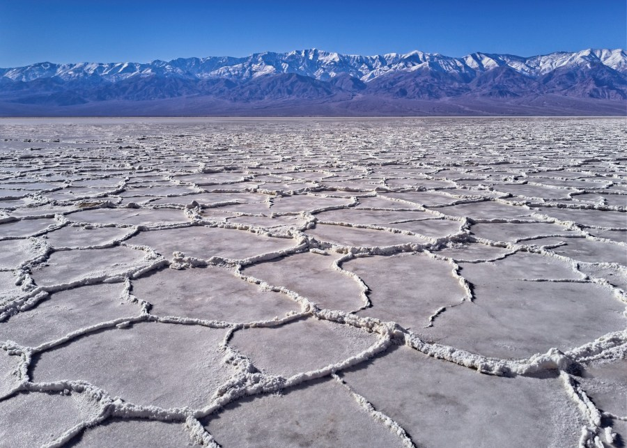 Bad Water Basin in Death Valley, California, is defined by its salt dried in hexagonal formations. Jim Choate, Flickr