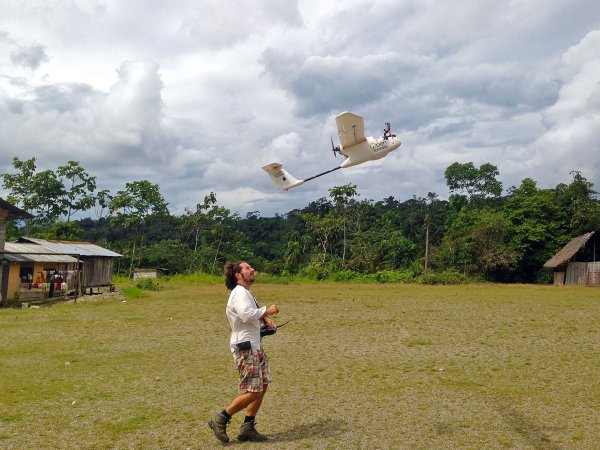 A drone used for landscape mapping and monitoring takes flight, Ecuador. Courtesy of OpenForests