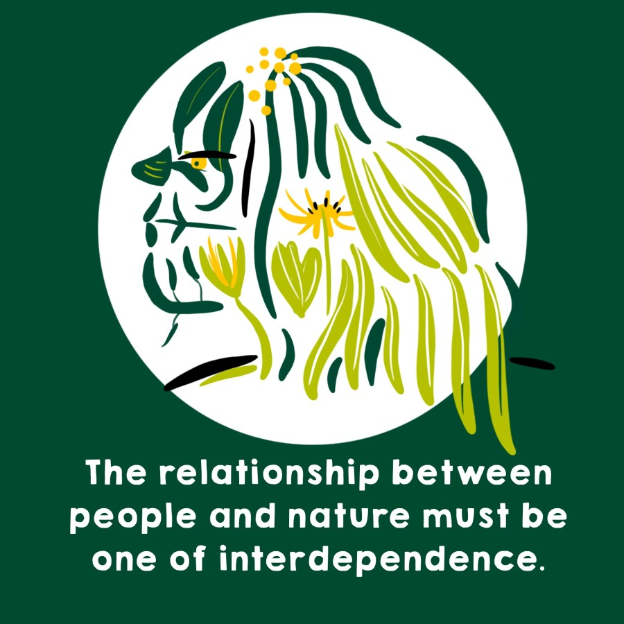La relación entre las personas y la naturaleza debe ser de interdependencia. Ilustración de Josie Ford