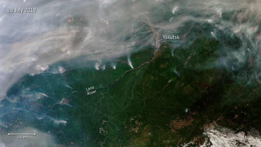 Wildfires in Siberia captured by satellite in July 2019. European Space Agency, Flickr