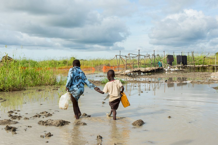 Young civilians in Bentiu, South Sudan, which sees significant flooding during rainy seasons. United Nations Photo