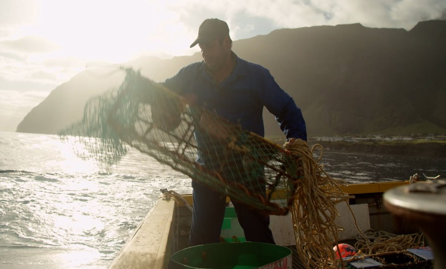A lobster fisherman brings up his traps. National Geographic