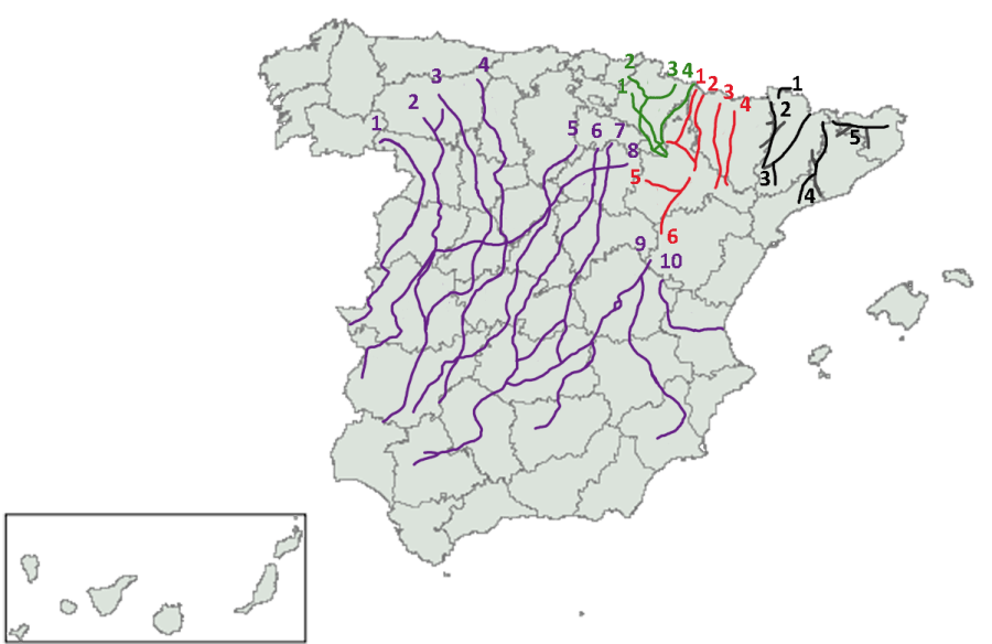 Map of the cañadas reales traversing Spain from the northern summer pastures to the winter pastures in the south. Diotime, Wikimedia Commons