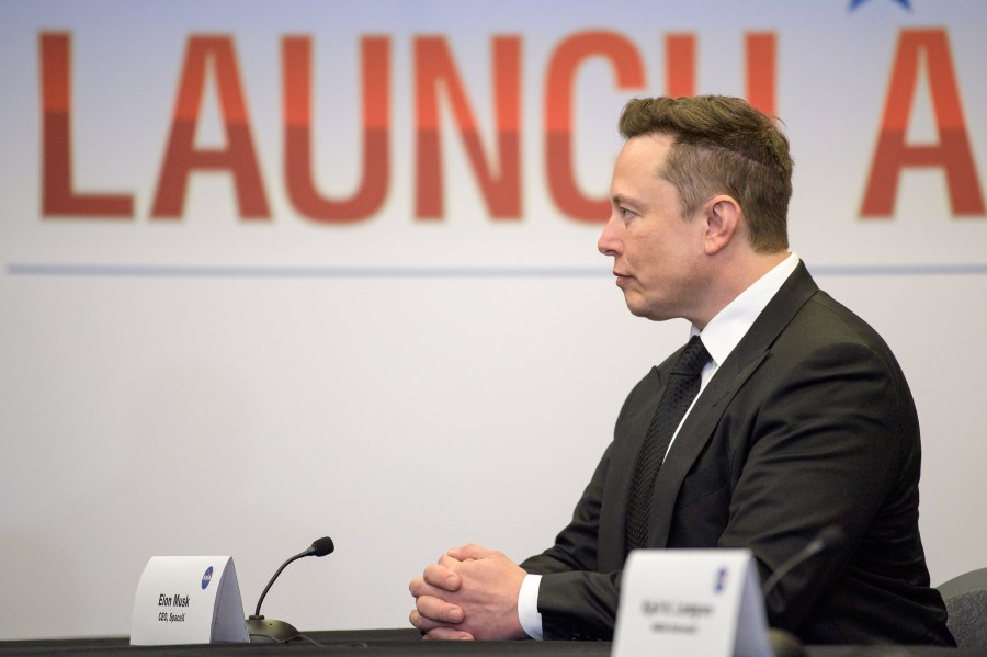 Elon Musk, the world's richest man and SpaceX Chief Engineer, participates in a SpaceX Demonstration Mission 2 launch briefing. NASA HQ Photo