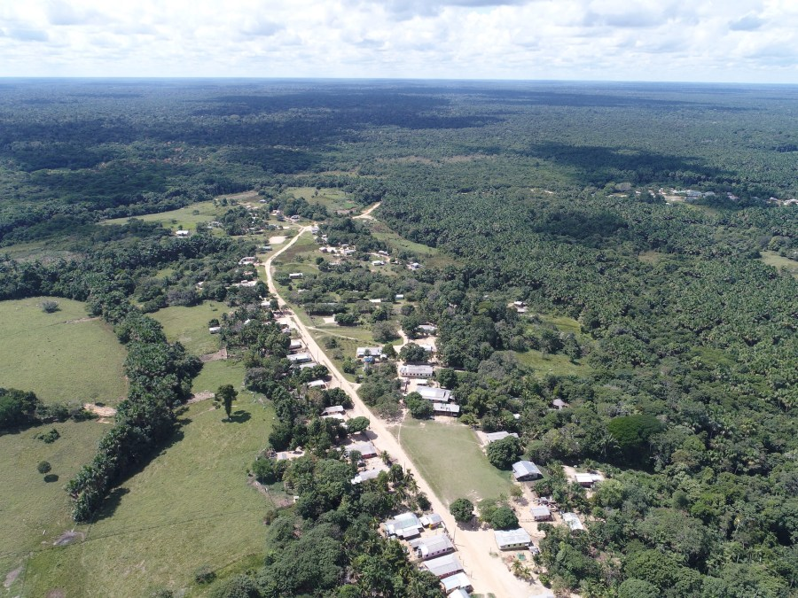 Aerial view of the Ipiranga village in the Poyanawa Indigenous Land, surrounded by forest. Image by Embrapa.