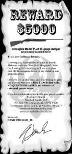 Hank Williams Jr Shotgun reward poster
