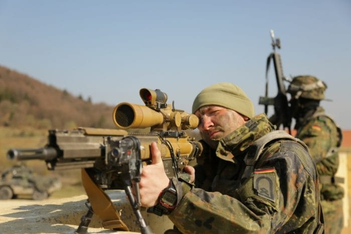 German soldier provides over watch using his HK G28 during exercise Allied Spirit X at Hohenfels, Germany, April 12, 2019