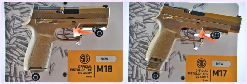 The M17 and M18 differ about an inch in overall length but share the same P320 series striker-fired action along with coyote-tan PVD coated stainless steel slide, M1913 accessory rail, and a removable top plate for optics. Each can use a 17-round 9mm flush fit or 21-round extended magazine. (Photo: Chris Eger/Guns.com)