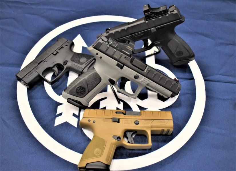 The new APX models include the gray-framed APX Target, center, as well as APX Centurion-length RDO and Combat models (top right), FDE models (bottom right) and the APX Carry slimline (top left.) (All Photos: Chris Eger/Guns.com)