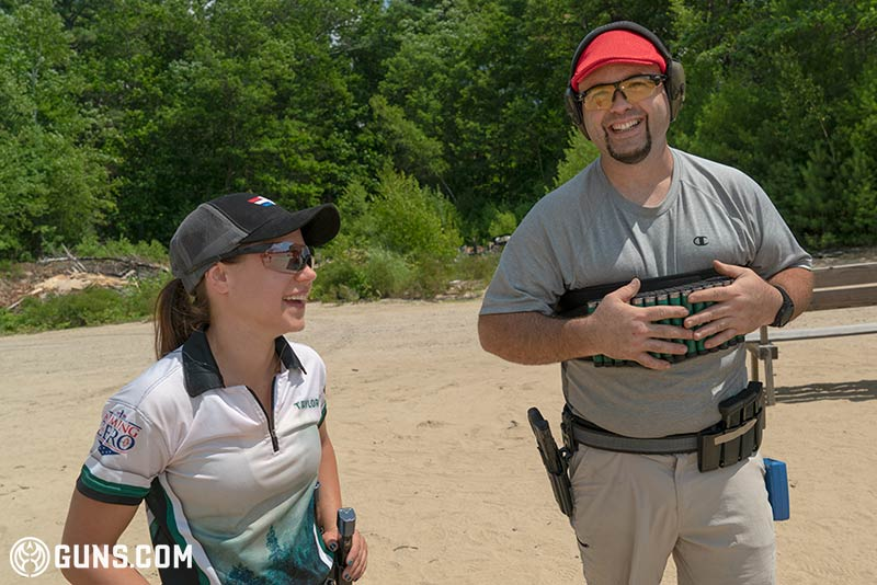 Taylor Thorne and Chris Shanks at the 3-gun match at Pioneer Sportsmen in Dunbarton, New Hampshire