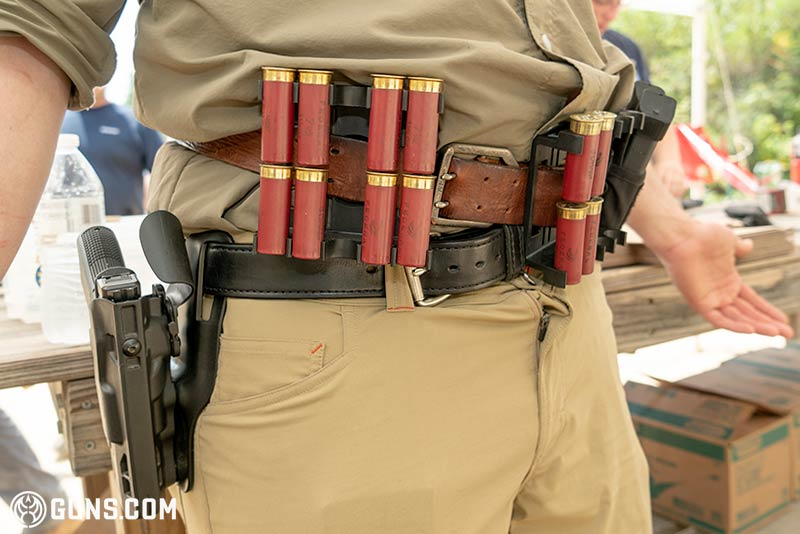 Shotgun shell caddy on a competitor.
