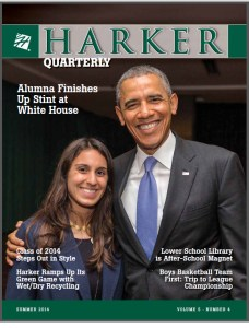Harker Alumna Wraps Up Stint at White House; Summer Harker Quarterly Features Photo with President