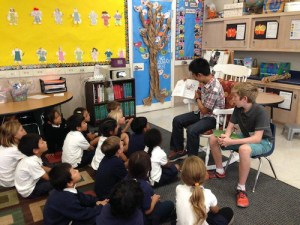 Upper School Students Read Stories to First Graders as Part of Ongoing Program