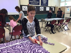 Grade 6 Students Create Warm Blankets for Donation to Ill and Foster Children