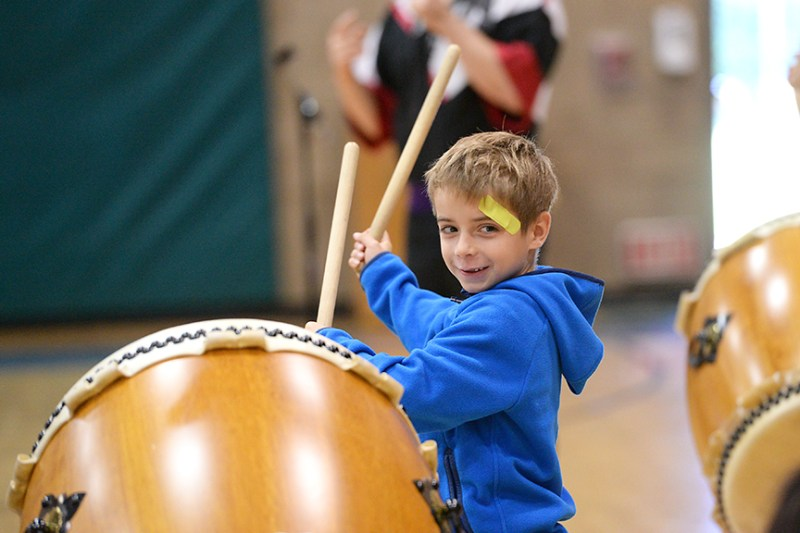 San Jose Taiko brings rhythm to lively lower school assembly