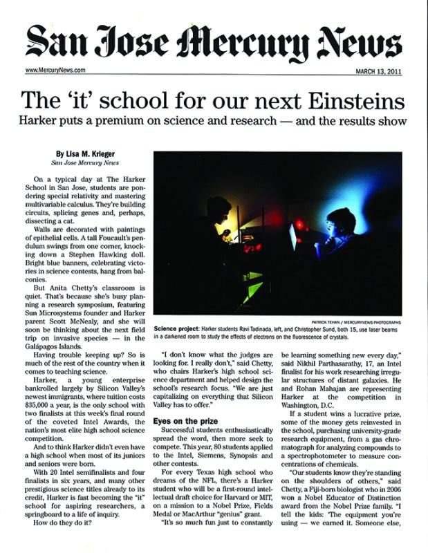 Mercury News  calls Harker the 'It' school for next Einsteins