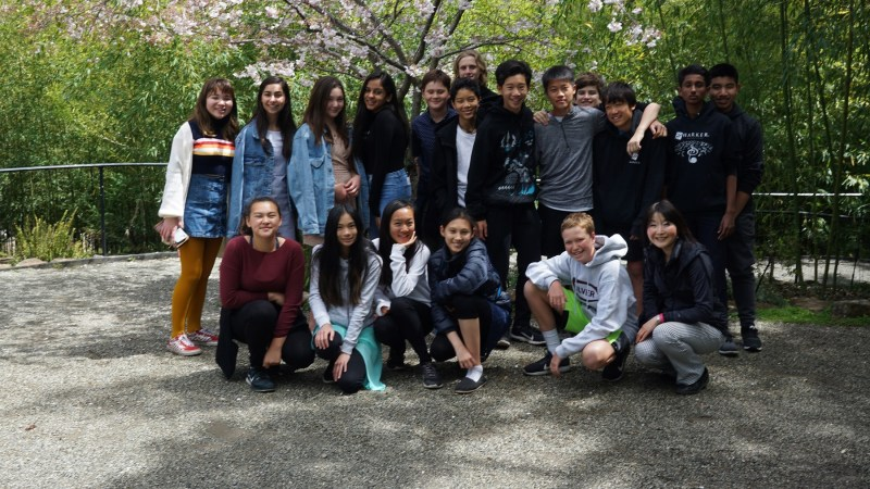 Japanese language students practice language skills during field trip