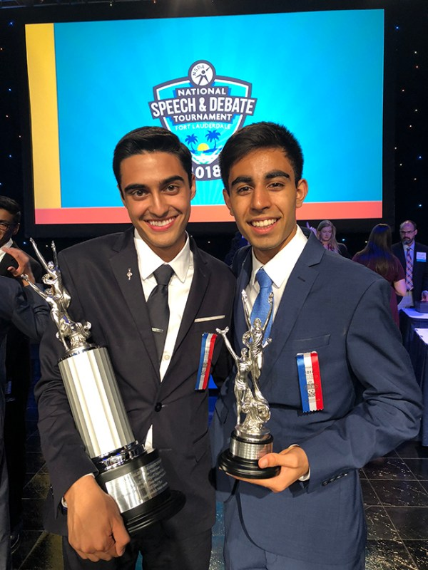 Two Harker speech and debate students finish in the top 10 in the nation