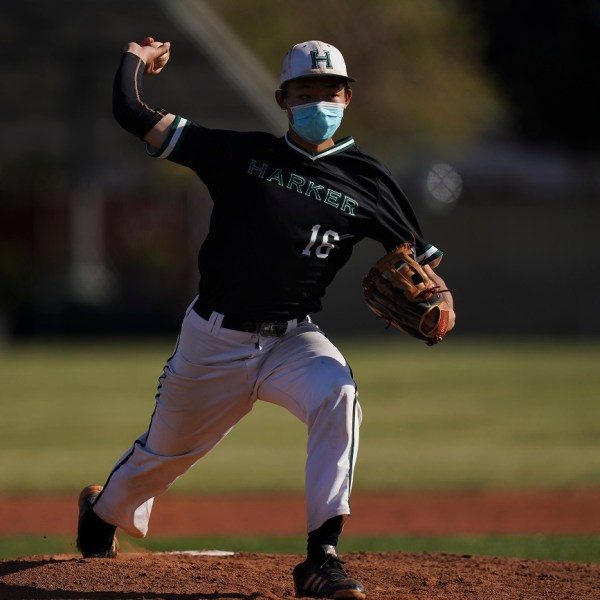 Junior Mark Hu pitches first perfect game in Harker history