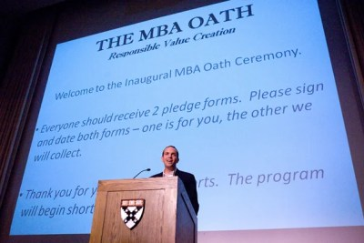 Max Anderson, HBS/HKS '09, is a George Leadership Fellow and a key organizer of the 'MBA Oath.'