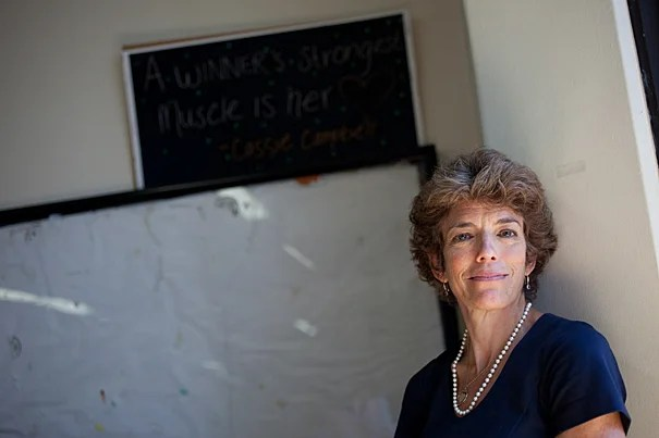Psychiatrist and memoir writer Rappaport stands at Cambridge Rindge & Latin School where she works at the Teen Health Center.