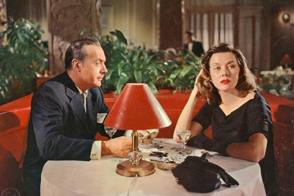 """A film still from the 1955 film """"The Cobweb,"""" starring Charles Boyer and Gloria Grahame. The image is one of thousands of film and promotional stills included in the Lothar and Eva Just Film Stills Collection, which was recently made available to the Harvard Film Archive."""