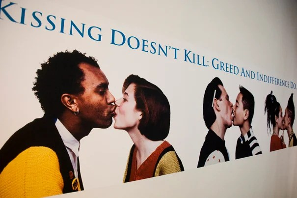 Powerful and provocative images like this one, which were aimed at bringing national attention to the HIV/AIDS crisis, are on display in a new exhibit at the Carpenter Center.