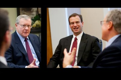 Harvard University's treasurer, Jim Rothenberg (left), and its chief financial officer, Dan Shore (right), discuss the annual report and the lessons learned in a tough economic climate.