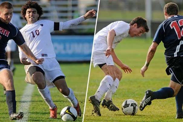 Crimson forwards Andre Akpan '10 (left) and Brian Rogers '13 have been named 2009 Ivy Player of the Year and Rookie of the Year, respectively.