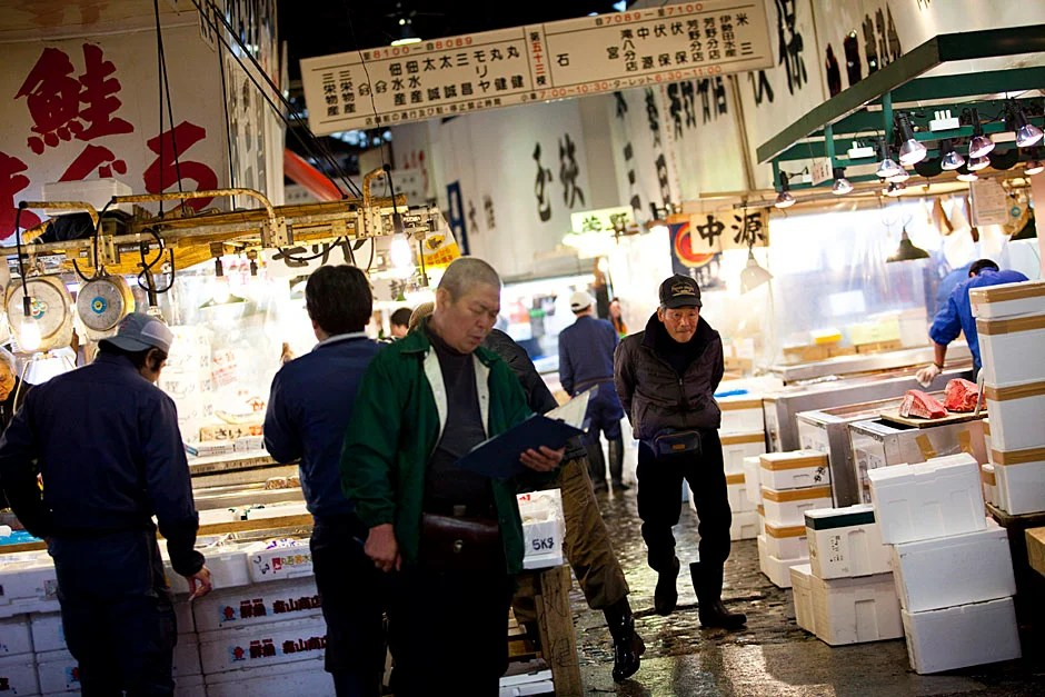 The fish market is a bustling place during the early morning hours.  Stephanie Mitchell/Harvard Staff Photographer