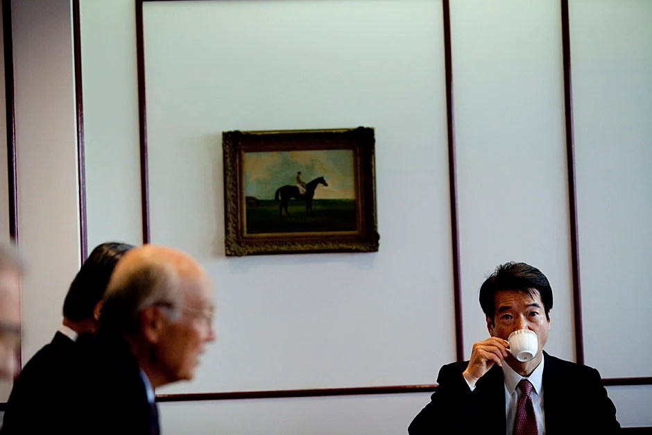 Norio Okaido (right) attends the meeting in the Hotel Okura where Faust meets with CULCON.    Stephanie Mitchell/Harvard Staff Photographer