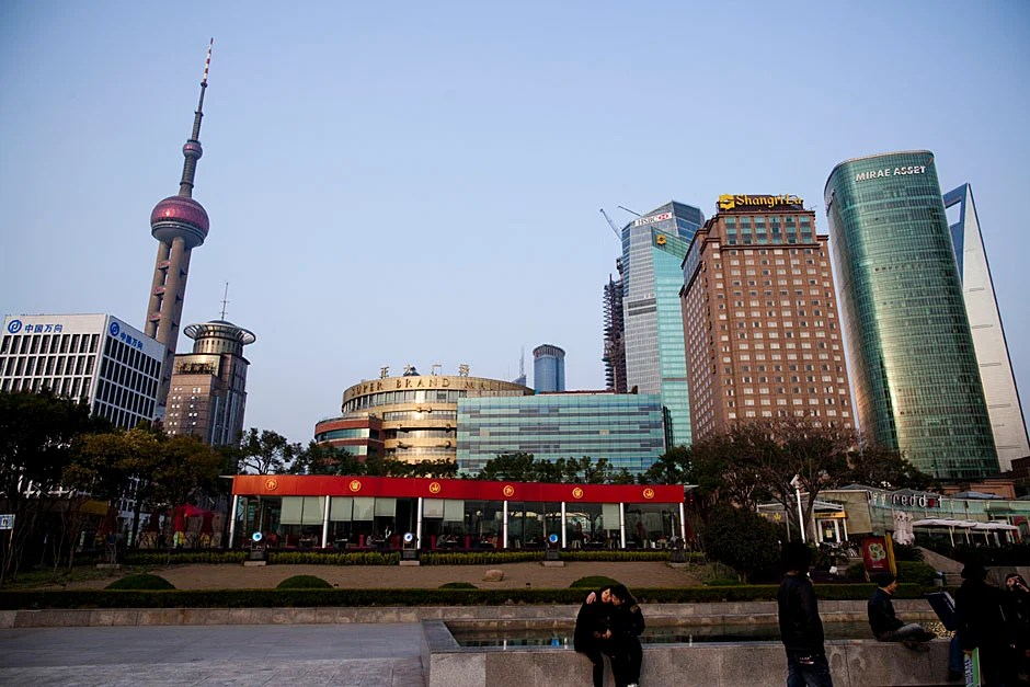 A view of the Pudong skyline and the HSBC building that houses the Harvard Center Shanghai.   Stephanie Mitchell/Harvard Staff Photographer