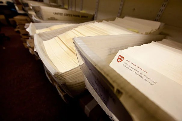 (Cambridge, MA.-- Wednesday, March 31, 2010)--   Admissions employees send 2,110 admission packets and rejection letters (pictured) to  high school seniors.   Staff Photo Rose Lincoln/Harvard News Office