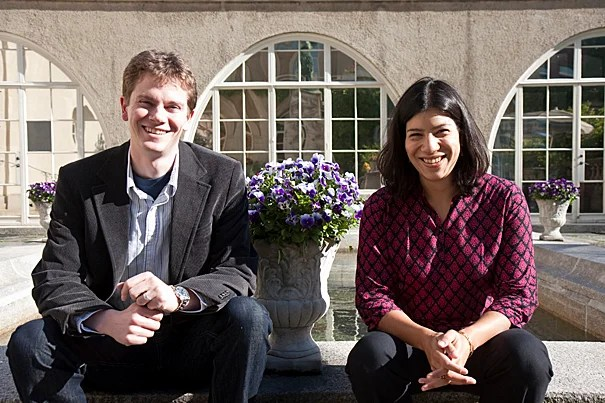 "Tobias Ritter (left) and Maya Jasanoff are being recognized with the Roslyn Abramson Award. ""The greatest teachers continue to shape their students for many years after graduation,"" said FAS Dean Michael D. Smith. ""By all accounts, Maya Jasanoff and Tobias Ritter are among those elite educators whose impact will be profound, if not lifelong."""