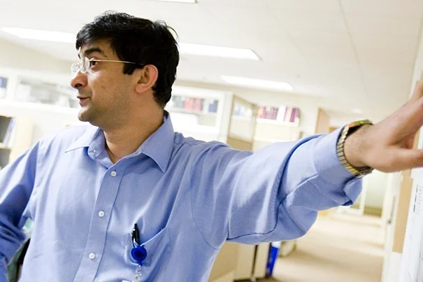 Shiladitya Sengupta, an assistant professor at Harvard Medical School, has led an effort to devise a way to keep platinum atoms,  useful in a drug to combat tumors, from hurting healthy tissues.