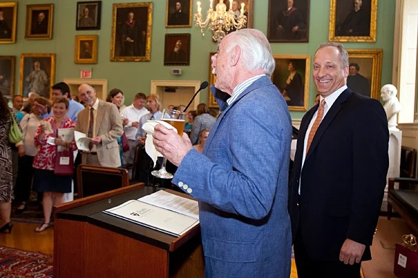 The Dean's Distinction Awards Ceremony was held on June 8. Michael Shinagel (left), dean of Continuing Education and University Extension, introduced Michael D. Smith, dean of the Faculty of Arts and Sciences, who presented the honorees.