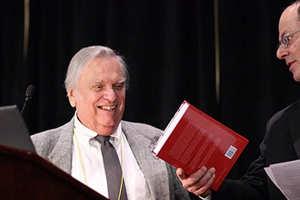 """Professor of the History of Science John E. Murdoch received the George Sarton Medal in 2009. """"John took a hard-headed approach to the study of the hard sciences in the Middle Ages, always looking closely at what the texts said,"""" said longtime colleague Everett I. Mendelsohn, professor of the history of science emeritus at Harvard."""