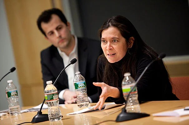 "The first of three symposia this semester on teaching and learning brought together David Malan (left), a lecturer on computer science, A.R.T. Artistic Director Diane Paulus (right), and Christopher Winship, the Diker-Tishman Professor of Sociology. In his opening remarks, FAS Dean Michael D. Smith said schools are going ""beyond the traditional college lecture format in which the student is simply a passive listener."""